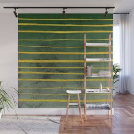 Gold Stripes on Green Wall Mural