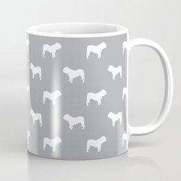 English Bulldog pattern grey and white minimal modern dog art bulldogs silhouette Coffee Mug