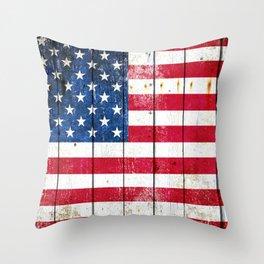Distressed American Flag On Wood Planks - Horizontal Throw Pillow