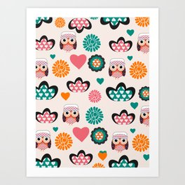 Owls and hearts Art Print
