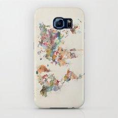 world map watercolour Slim Case Galaxy S7
