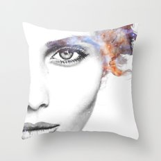 Girl with stars in her hair Throw Pillow
