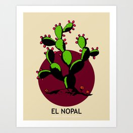 El Nopal Mexican Loteria Card Art Print