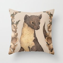 The Marten and Foxglove Throw Pillow