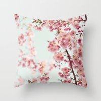 cherry blossoms Throw Pillows featuring Cherry blossoms by Photography by Karin A