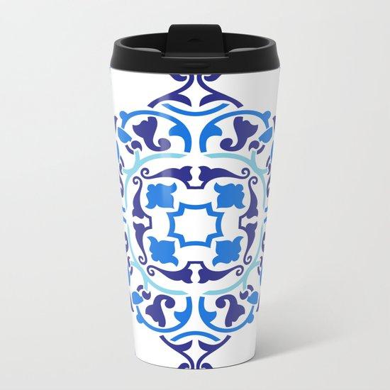 Cobalt blue boho pattern Metal Travel Mug