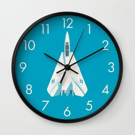 F14 Tomcat Fighter Jet Aircraft - Cyan Wall Clock