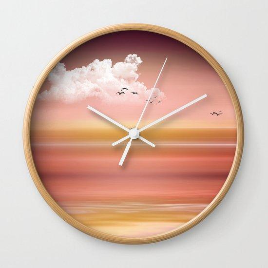 FROM DUSK TO DAWN - a golden sunset Wall Clock
