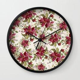 Poinsettia Pattern Wall Clock