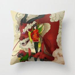 dragon keeper Throw Pillow