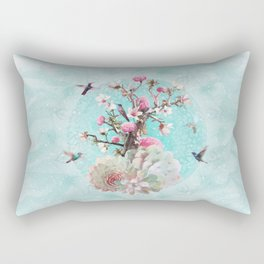 FLORAL HUMMINGBIRD Rectangular Pillow