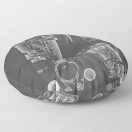First Computer Patent - Technology Art - Black Chalkboard Floor Pillow