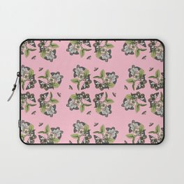 Butterflies and Camellias on Pink Pattern Laptop Sleeve