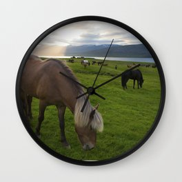 Icelandic horses in the sunset Wall Clock
