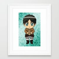 shingeki no kyojin Framed Art Prints featuring Shingeki no Kyojin - Chibi Eren by Tenki Incorporated