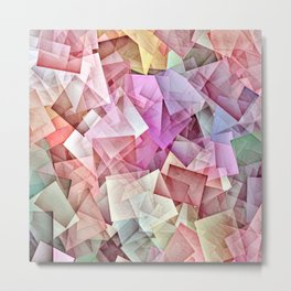 Geometric Stacks Pastel Metal Print