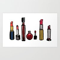 lipstick Art Prints featuring Lipstick by Kayla Phan