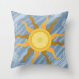 light blue sunset Throw Pillow