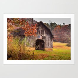 Rustic Barn in Autumn Art Print