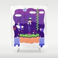 luigi Shower Curtains featuring Tiny Worlds - Super Mario Bros. 2: Luigi by Paperbeatsscissors