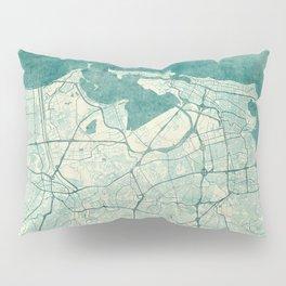 San Juan Map Blue Vintage Pillow Sham