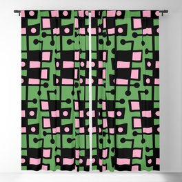 Mid Century Modern Abstract 212 Green and Pink Blackout Curtain