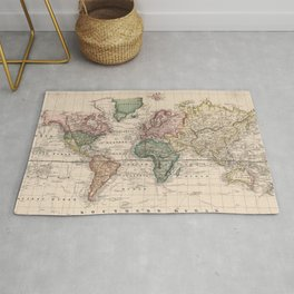 Vintage Map of The World (1833) Rug