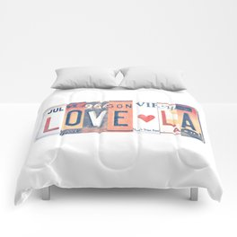 LOVE LA License Plate Art Comforters