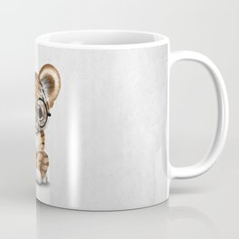 Cute Baby Tiger Cub Wearing Eye Glasses on White Coffee Mug