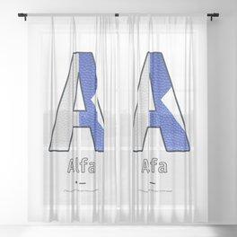 Alfa - Navy Code Sheer Curtain