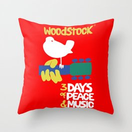 Woodstock 1969 - red background Throw Pillow
