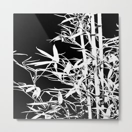 White Bamboo Silhouette On Black Metal Print
