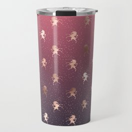 Modern Home Ombre Gold Unicorn Pattern Travel Mug