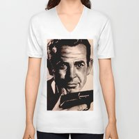 james bond V-neck T-shirts featuring Sean Connery as James Bond by Caroline Ward