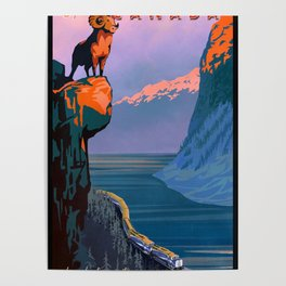 VINTAGE TRAVEL CANADA TRAIN POSTER Poster