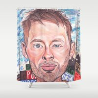 radiohead Shower Curtains featuring Thom Yorke Radiohead Hail to The Theif by Bill Gallagher Art