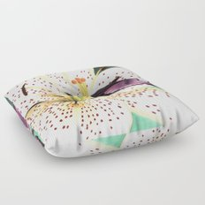 White Lily Floor Pillow