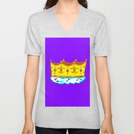 A Gold Crown with Ermine Fur Unisex V-Neck