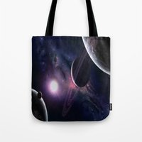 outer space Tote Bags featuring OUTER SPACE by Dav-idz- Art- Gallery