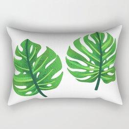 green monstera leaves illustration Rectangular Pillow