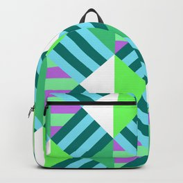 Geometric Block Stripes Pattern - Blue & Green Backpack
