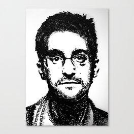 Edward Snowden - REVOLT (rubber stamp portrait) Canvas Print