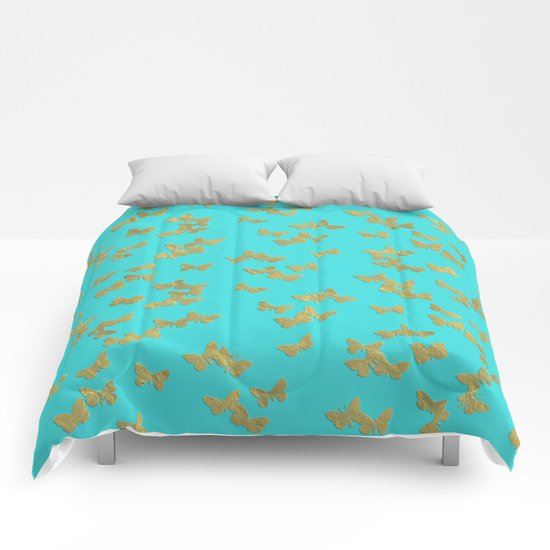 Gold glitter butterflies on aqua - Animal Insect Gold Glitter effect on #Society6 Comforters