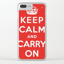 Classic Vintage 'keep calm and carry on' print Clear iPhone Case