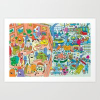 monster inc Art Prints featuring Chez Monster by Clayton (CTON) Hanmer