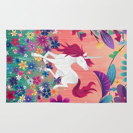 Floral Frolic Unicorn Rug