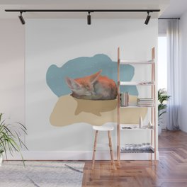 Sleepy Fox Wall Mural