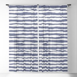 Navy Blue Stripes Sheer Curtain