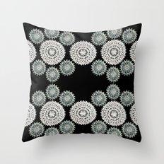Silver and Black Mandala Circles Throw Pillow