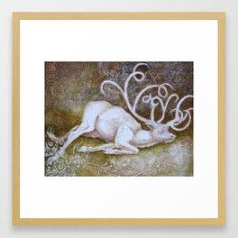 Albino Elk Framed Art Print